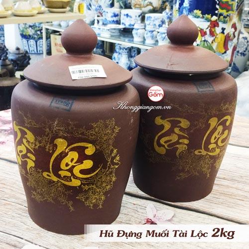 Hũ đựng gạo muối Tài Lộc gốm sứ 2kg