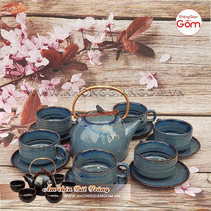 Bộ ấm chén trà cao cấp kiểu Nhật men lam thiên thanh│Không Gian Gốm