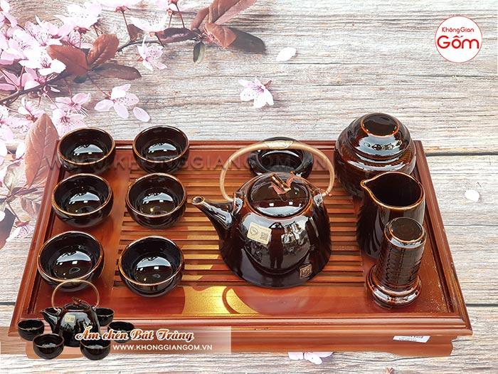 Bộ ấm trà cao cấp kiểu Nhật men nâu đen tuyệt đẹp│Không Gian Gốm