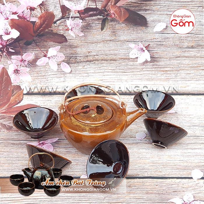 Bộ ấm trà gốm sứ cao cấp kiểu Nhật quai đồng│Không Gian Gốm