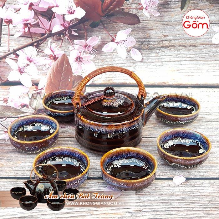 Bộ ấm trà cao cấp gốm sứ kiểu Nhật tráng men đẹp│Không Gian Gốm