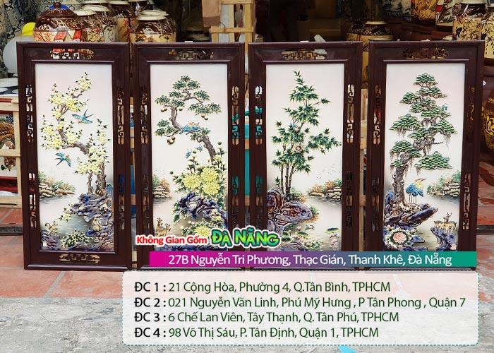 Mua tranh tứ quý phong thủy Đà Nẵng - Tranh gốm sứ Bát Tràng