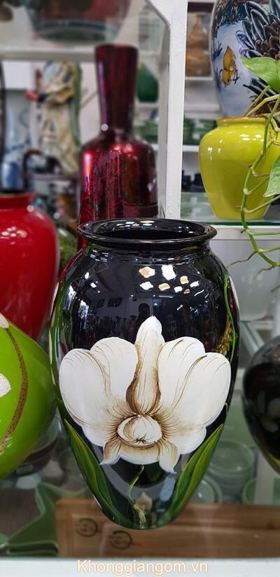 Bình gốm cắm hoa men màu Bát Tràng