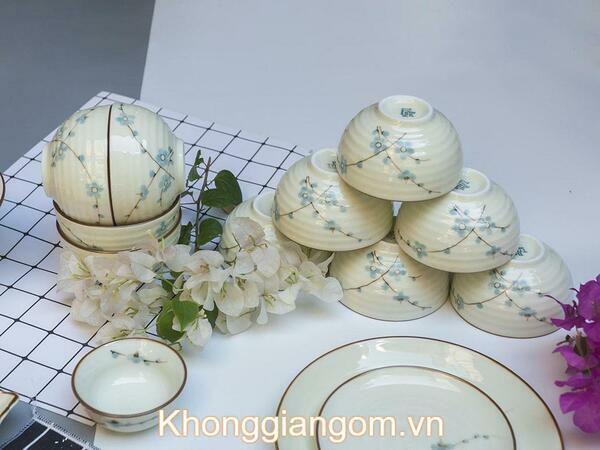 Bộ bát đĩa đầy đủ hoa đào xanh