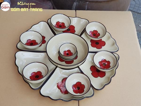 Bộ bát đĩa thờ cúng hoa đỏ