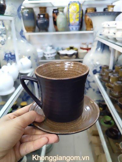 Ly cafe gốm men đen