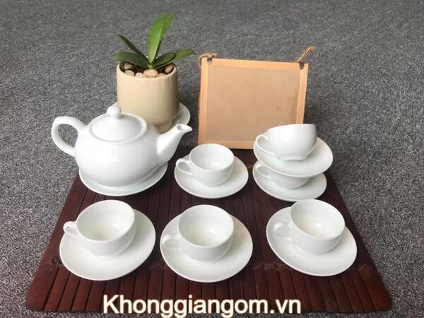 Bộ trà sứ trắng