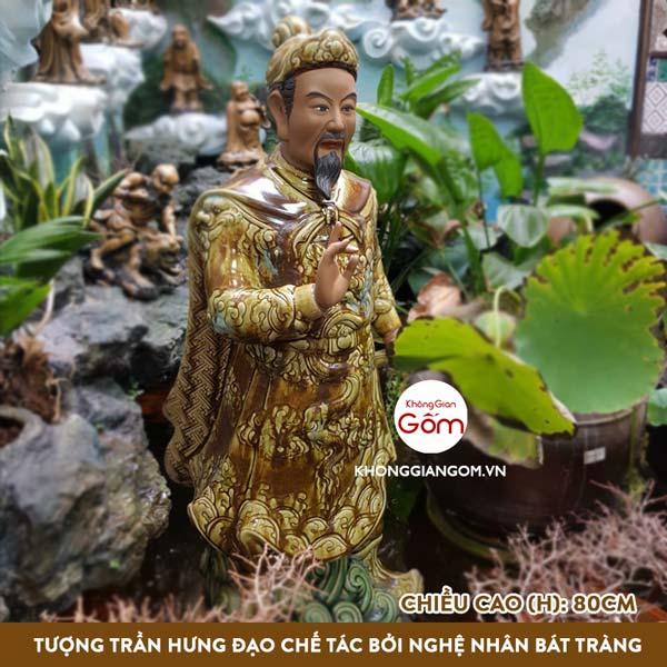 tượng trần hưng đạo gốm sứ cao 80cm chế tác bởi nghệ nhân bát tràng