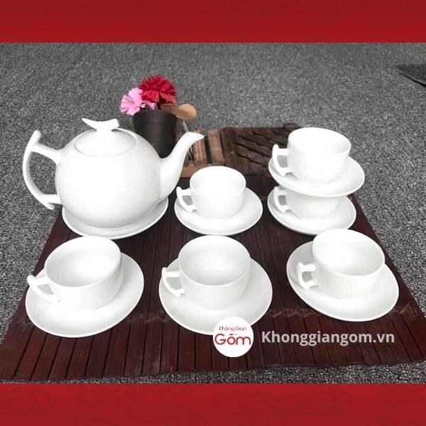 Bộ ấm trà sứ trắng dáng tròn bưởi cành