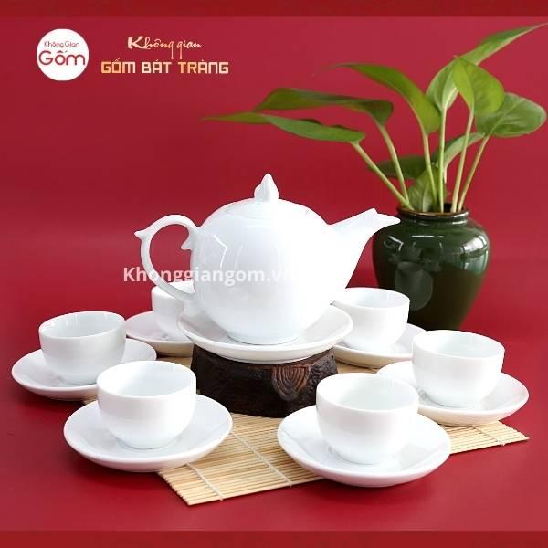 Bộ ấm trà sứ trắng dáng tròn bưởi lửa
