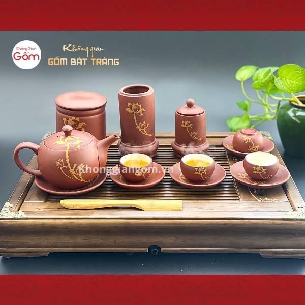 Bộ ấm trà tử sa Bát Tràng vẽ sen đỏ gạch kèm phụ kiện