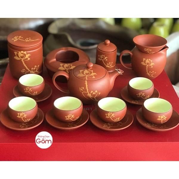 Bộ ấm trà tử sa Bát Tràng vẽ sen đỏ gạch