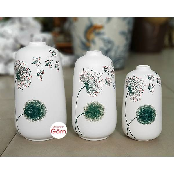 Bộ bình hoa trang trí men trắng mịn vẽ hoa bồ công anh