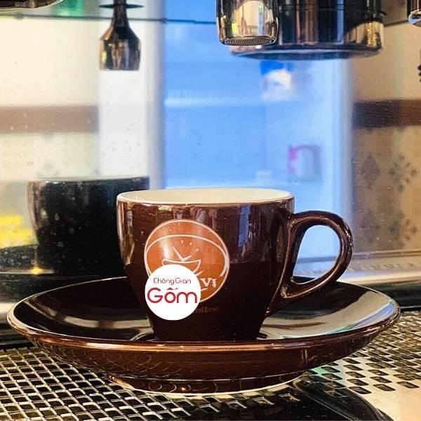 Bộ tách cafe Espresso men nâu bóng kèm đĩa lót
