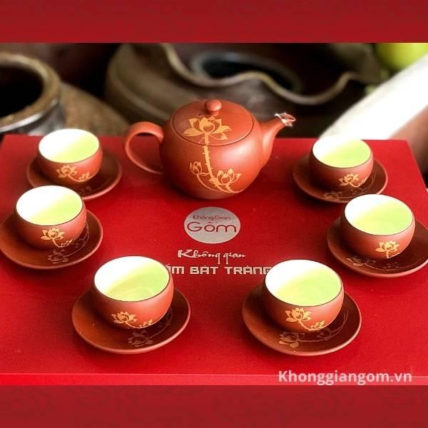 Bộ trà tử sa đỏ gạch sen vàng
