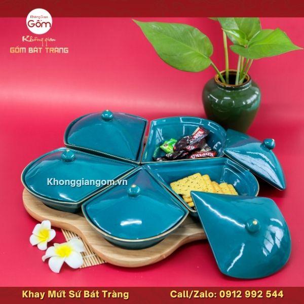 Khay mứt sứ Bát Tràng hoa mai màu xanh cổ vịt