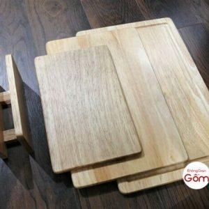 Bộ 3 thớt gỗ chữ nhật đẹp kèm kệ trưng bày