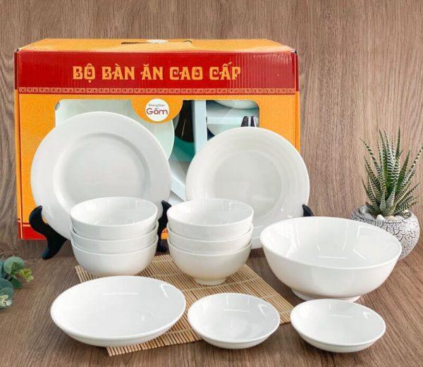 Bộ bát đĩa chén sứ trắng đẹp cao cấp 12 món kèm hộp