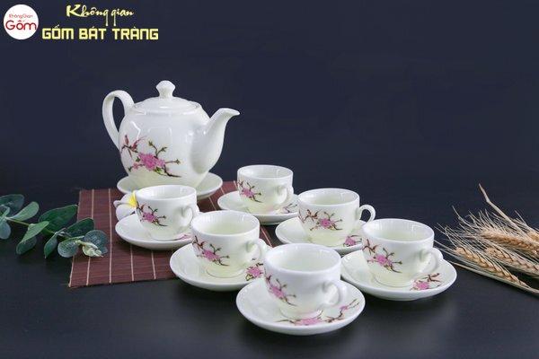 Bộ trà sứ trắng hoa đào